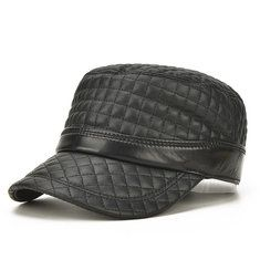 0124dc23089 High-quality Mens Winter Genuine Leather Baseball Caps With Ear Flaps  Outdoor Warm Trucker Hats