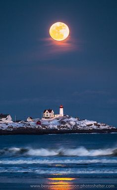 # Moon over Nuble Lighthouse, Maine Blue Moon, Ocean Beach, Moonlight, Planets, Northern Lights, Oceans, Earth, Sky, Outdoor