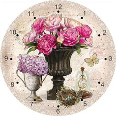 Flowers In Vases Clock Face