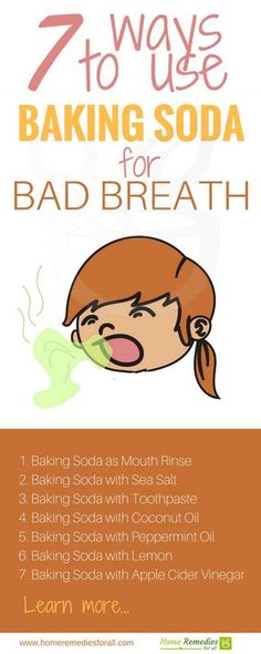 Use baking soda to get rid of bad breath. This home remedy provides instant relief from bad breath caused by dental pronlems.
