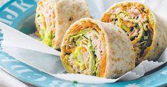 Tuna Salad Rolls - Healthy Snack Recipes - also could be salmon? Easy Snacks, Healthy Snacks, Healthy Eating, Healthy Recipes, Healthy Tuna, Healthy Wraps, Lunch Recipes, Cooking Recipes, Salad Rolls