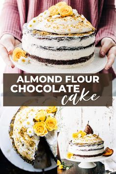 This almond flour chocolate cake has naked layers of grain free cake and fluffy coconut cream frosting. Make this almond cake recipe for an impressive and delicious dessert! Gluten Free Sweets, Sugar Free Desserts, Gluten Free Cakes, Gluten Free Baking, Almond Flour Chocolate Cake, Flourless Chocolate, Almond Cakes, Baking Ideas, Baking Recipes