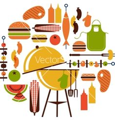 Set+of+bbq+objects+vector+914758+-+by+zoyalipets on VectorStock®