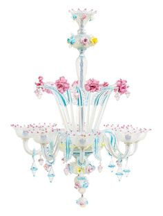 A Murano Glass Chandelier Height approximately 35 inches.