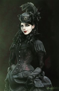 Neo-victorian Gothic  Don't like the makeup on this girl, but the dress and hat might inspire something