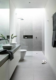 Light grey floor and feature wall; tile changes at shower screen