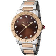 BVLGARI Bvlgari-Bvlgari Diamond, 18K Rose Gold & Stainless Steel... ($11,100) ❤ liked on Polyvore featuring jewelry, watches, diamond bracelet watch, diamond wrist watch, rose jewelry, two tone bracelet watch and diamond watches