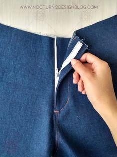 Cómo coser la cremallera para jean – Nocturno Design Blog Sewing Patterns Free, Sewing Tutorials, Free Pattern, Kimono Pattern, Design Blog, Couture, Stitch, Mac, Tips
