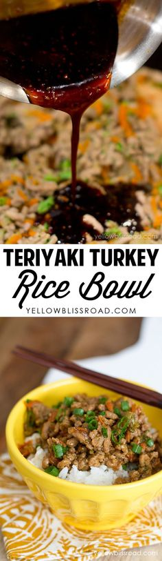 Teriyaki Turkey Rice Bowls perfect lunch idea to pack in the @Thermosbrand Dual Compartment Food Jars! #SadDeskLunch