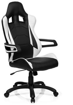 hjh office Racer Pro I PU - Bureaustoel - Leder - Zwart / wit Game Room Chairs, Dining Room Chair Cushions, Wooden Dining Room Chairs, Dining Chair Slipcovers, Modern Dining Chairs, Upholstered Chairs, Desk Chairs, Office Chairs, E Sports