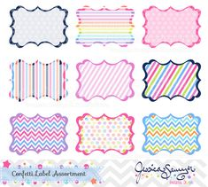 confetti party digital labels, patterned printable labels, for commercial use and personal use