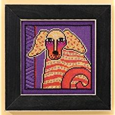 Golden Retriever Dog Cross Stitch Laurel Burch Dogs! Goldie On Aida Counted Cross Stitch Kit - 5x5 14 Count