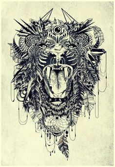 lion, tattoo, and art afbeelding