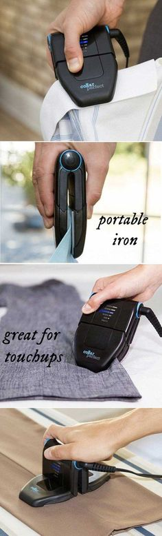 Collar Perfect Compact Touch-up & Portable Iron- Crisp up collars, hems, and pockets between two heated plates. Smooth between shirt buttons, too. For bigger areas, the plates rotate into a mini iron Travel Gadgets, Gadgets And Gizmos, Tech Gadgets, Travel Hacks, Electronics Gadgets, Technology Gadgets, Iphone Gadgets, Fitness Gadgets, Baby Gadgets