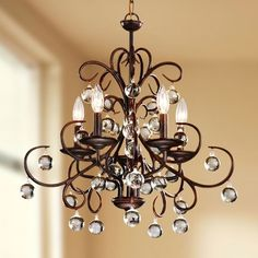 Wrought Iron and Crystal 5-light Chandelier | Overstock.com Shopping - The Best Deals on Chandeliers & Pendants