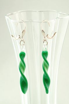 Glass Twist Earrings - Two Toned Green Lampworked Spirals on Silver Wires by GlassArtbyVicki on Etsy, $35.00