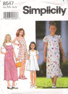 Simplicity 8547 Girls' Dress