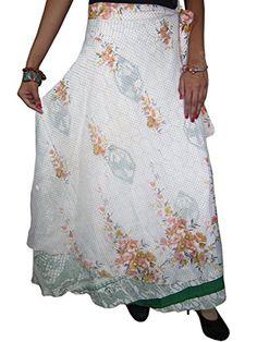 Womans Long Skirt- White 2 Layer Silk Sari Wrap Skirt Floral Beach Wear Sarong Magic Skirt Mogul Interior http://www.amazon.com/dp/B00OPZVTSI/ref=cm_sw_r_pi_dp_I.Jrub0EMNBP7
