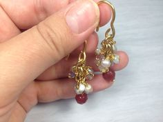 SALE- Grapevine Cluster Earrings, Pearl Earrings, Gold Fill Earrings, 14K, White Mauve Color, Brown Stone, Wire Wrapped, Bridal Jewelry by PerlitasJewelry on Etsy