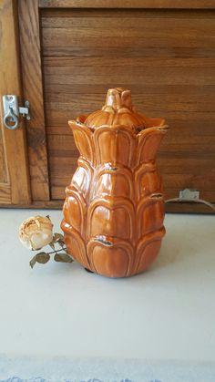 Vintage Burnt Orange Vase w/ Cover, Antique Vase, Distressed, Patina, Ceramic Vase, Fall Decor, Mantle, Center Vase, Pinecone Inspired DD29 by ANTFOUNDANTIQUES on Etsy