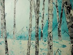 Abstract Birch Tree Painting Acrylic Painting on by acrylkreativ