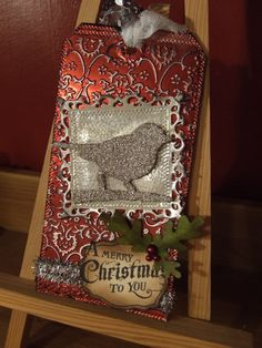 Tim Holtz style Christmas tag- embossed foil and Sizzix dies with Waltzing Mouse stamp