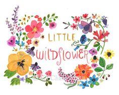 Arte infantil--pequeñas flores silvestres - impresión del arte