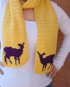 Deer Scarf, Purple and Yellow Scarf for Women, Deer Silhouette, Crochet Scarf, Hoooked Scarves by Hoooked, $35.00