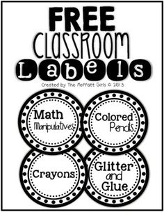 black and white classroom labels included:*Markers*Crayons*Glitter and Glue*Math Manipulatives*Scissors*Colored Pencils*Reading *Math *Science*History*Art *Finished Work*Notes*Paper*Homework Blank labels * Classroom Labels Free, New Classroom, Classroom Setup, Classroom Design, Kindergarten Classroom, Classroom Posters, Classroom Arrangement, Classroom Freebies, Classroom Environment