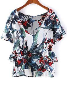 Floral Ruffles V Neck Short Sleeve T-Shirt