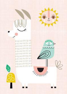 Suzy Ultman poster Sunshine Lama 29.7 x 42 cm