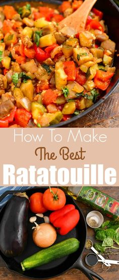 Ratatouille is a delicious French vegetable stew packed with end-of-summer vegetables like eggplant, zucchini, tomatoes, onions, and bell peppers. My favorite way to prepare ratatouille is to sauté the vegetables in order first and the roast them in the oven. #sidedish #eggplant #zucchini #vegetables #ratatouille #stew