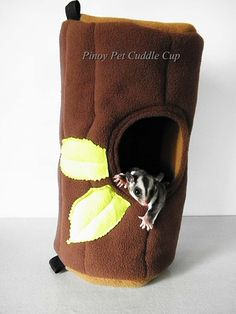 Sugar glider tree house PinoyPetCuddleCup on Etsy - such a cute shop, and I love this little hidey house!