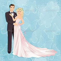 Wedding couple #GraphicRiver Illustration of bride and groom on blue background…