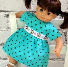 American Girl Bitty Baby Twin Turquoise Polka Dot Dress with monkey ribbon on Etsy, $16.00
