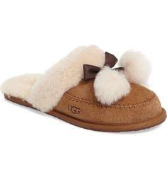 dc673a9d5 Women's Shoes UGG Hafnir Sheepskin Pom-Pom Suede Mocassins Slippers  Chestnut #mocassins #slippers