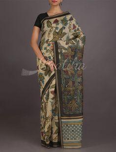 Meghna Swaying Leaves #HandPainted #KalamkariSilkSaree