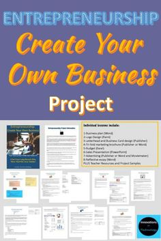 Creating a business plan was one of my favorite projects we did in my business classes in high school. This could provide some helpful tips in making that project happen for me as a teacher. activities for middle school Creating A Business Plan, Create Your Own Business, Microsoft Office, Business School, Business For Kids, Business Tips, Business Education Classroom, Economics Lessons, Teaching Economics