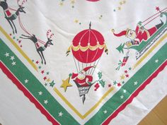 RARE Vintage Tablecloth Christmas Santa Claus by NeatoKeen on Etsy, $92.00