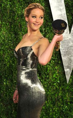 Jennifer Lawrence in a slinky Calvin Klein dress to celebrate her Best Actress win! #Oscars #Fashion #JenniferLawrence