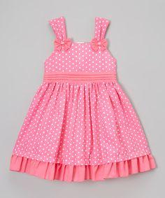 Love this Pink Polka-Dot Ruffle-Hem Dress - Toddler & Girls on #zulily! #zulilyfinds