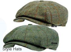 Men s 8 Panel Tweed Baker boy News boy Gatsby Hat Brown Quality Hats and Caps UK