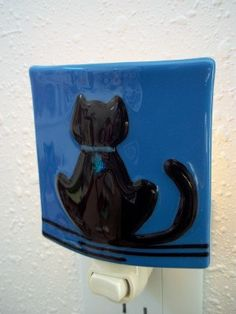 Your place to buy and sell all things handmade Fused Glass, Stained Glass, Cute Night Lights, Night Lite, Nightlights, Glass Animals, Black Cats, Glass Art, Polymer Clay