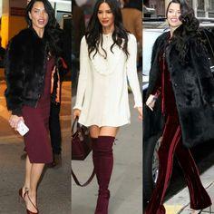 Algumas tendências linda e elegantes de outono/inverno nos looks preto/vinho da Adriana Lima e nos looks branco/vinho da Olivia Munn.✨ #adrianalima #oliviamunn #creative #fashion #fallwinter #styles