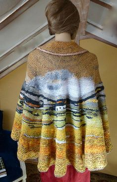 Landscape shawl: love this idea, of graphing a painting into knitting.
