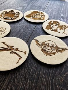 Star Wars Coasters Star Wars wood coasters Star Wars Gift | Etsy Laser Cut Wood, Laser Cutting, How To Bend Wood, Wood Burning Art, Cozy Apartment, Star Wars Gifts, Wood Coasters, Plywood, Starwars