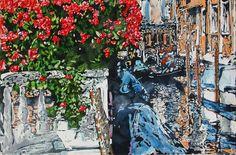 """flowering landing giardinetti reali rio della zecca venice 14"""" x 22"""" micheal zarowsky / watercolour on arches paper / available $650.00"""