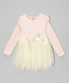 Take a look at this Pink & Crème Lace Tulle Dress - Toddler & Girls by Mia Belle Baby on #zulily today!