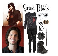 """""""Sirius Black"""" by aquatic-angel ❤ liked on Polyvore featuring Denim of Virtue, Topshop and Bling Jewelry"""