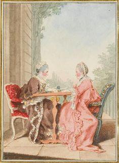 Portrait de Madame de Chalut et Madame de Spon, assises, 1760 Louis Carrogis dit Carmontelle